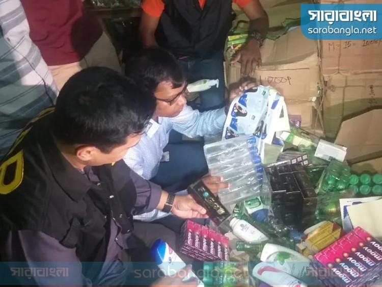 চকবাজারে র্যাবের অভিযানে ১০ কোটি টাকার নকল প্রসাধনী জব্দ