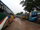 চাঁদাবাজির প্রতিবাদে সুনামগঞ্জে বাস ধর্মঘট